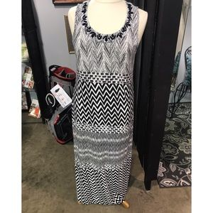 Black/white Chico's Dress with black beading!